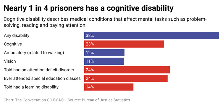 A bar graph showing the percentage of prisoners that have different disabilities.