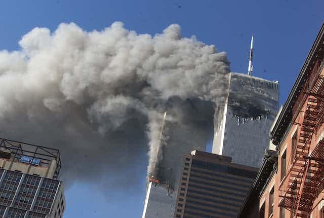 World Trade Center towers burning on 9/11