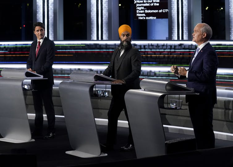 Liberal Leader Justin Trudeau, NDP Leader Jagmeet Singh,and Conservative Leader Erin O'Toole square off.