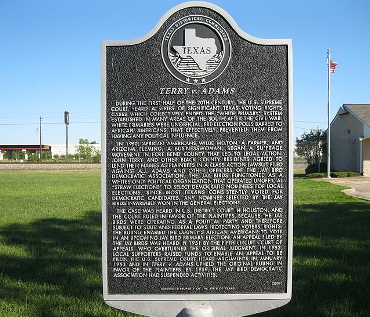 A historical marker memorializing the Terry v. Adams case.