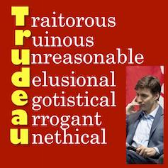 A poster spells out Trudeau:  Traitorous, ruinous, unreasonable, delusional, egotistical, arrogant and unethical.