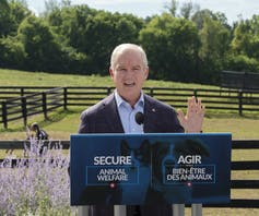 Conservative leader Erin O'Toole behind a podium in front of green lawns fenced fields