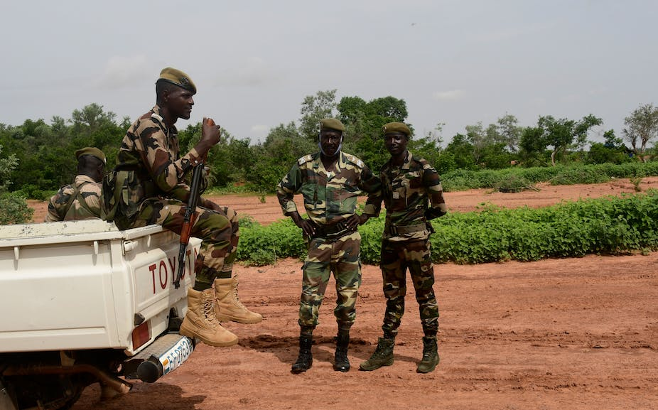 Niger security forces patrol in the Kouré Giraffe reserve on August 21, 2020