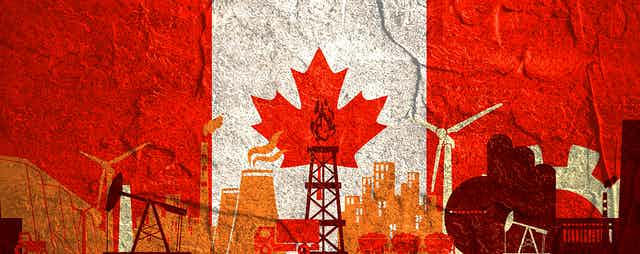 Graphic of illustrated energy facilities with a Canadian flag background