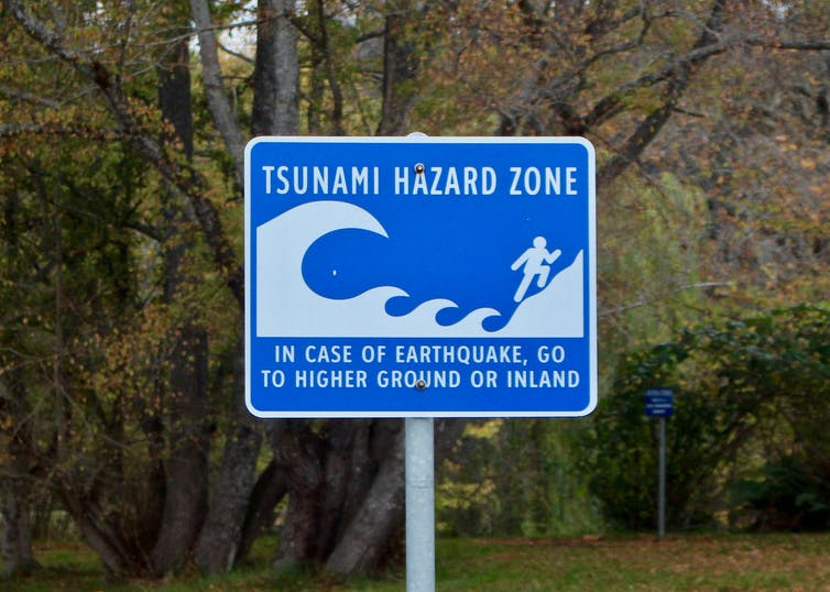 Sign reading TSUNAMI HAZARD ZONE IN CASE OF EARTHQUAKE GO TO HIGHER GROUND