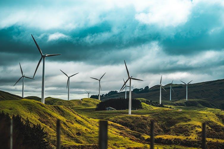 Wind turbines on farm land in New Zealand