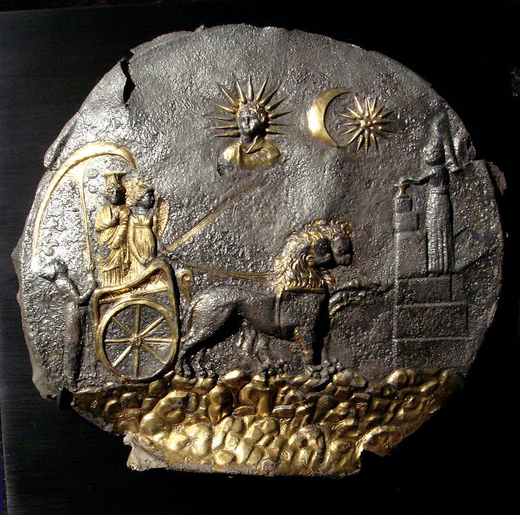 A black and gold plaque.