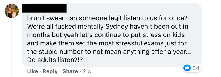 Screen shot of Facebook comment on HSC Discussion Group 2021