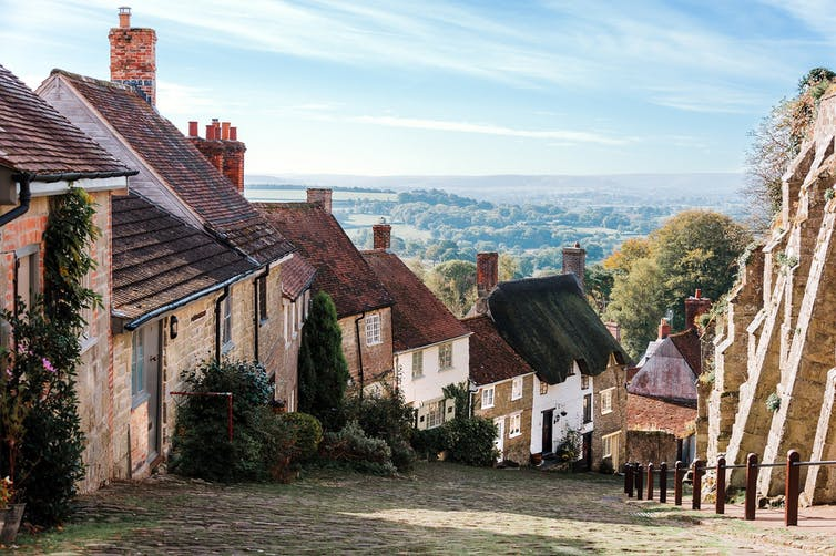 A row of old English houses