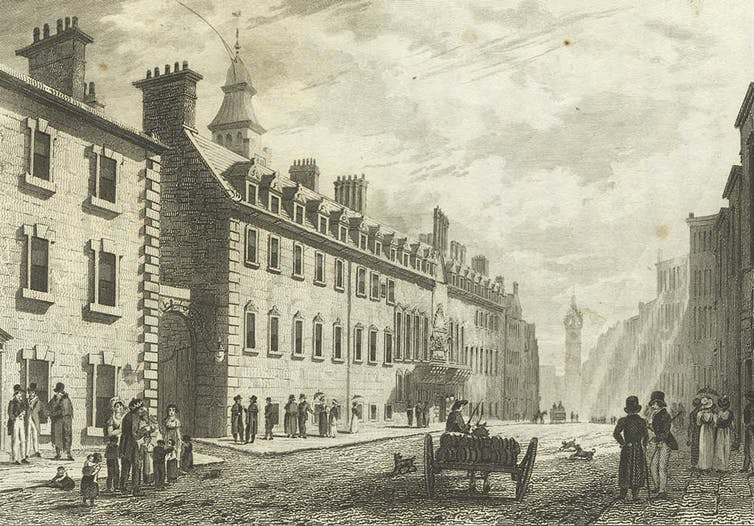 A black and white image of a Glasgow street in the 1820s.