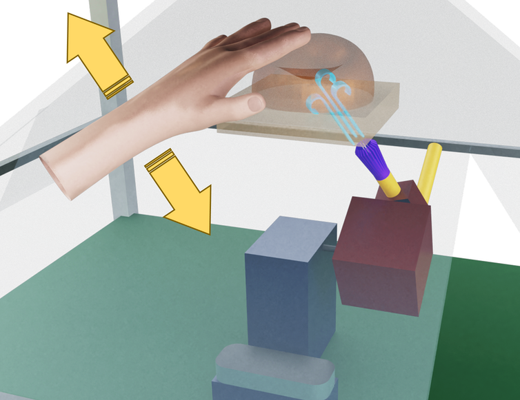 Creating the idea of touch with a hologram