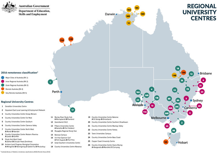 Map of Australia showing distribution of 26 Regional University Centres