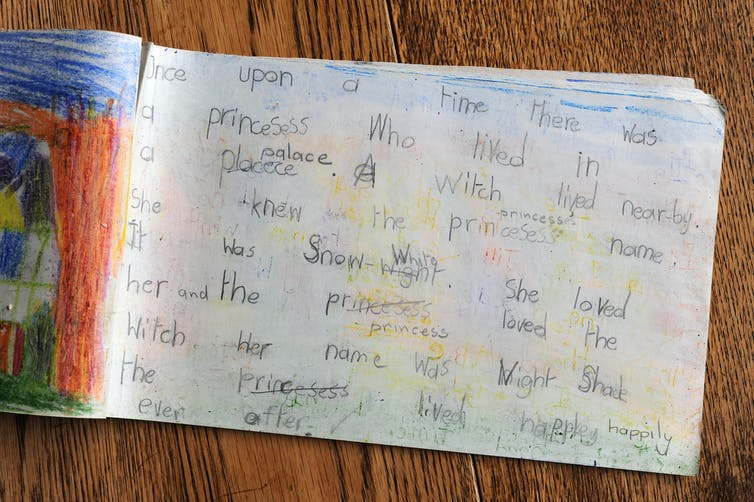 A page from the diary of a primary school student with a written story and an illustration