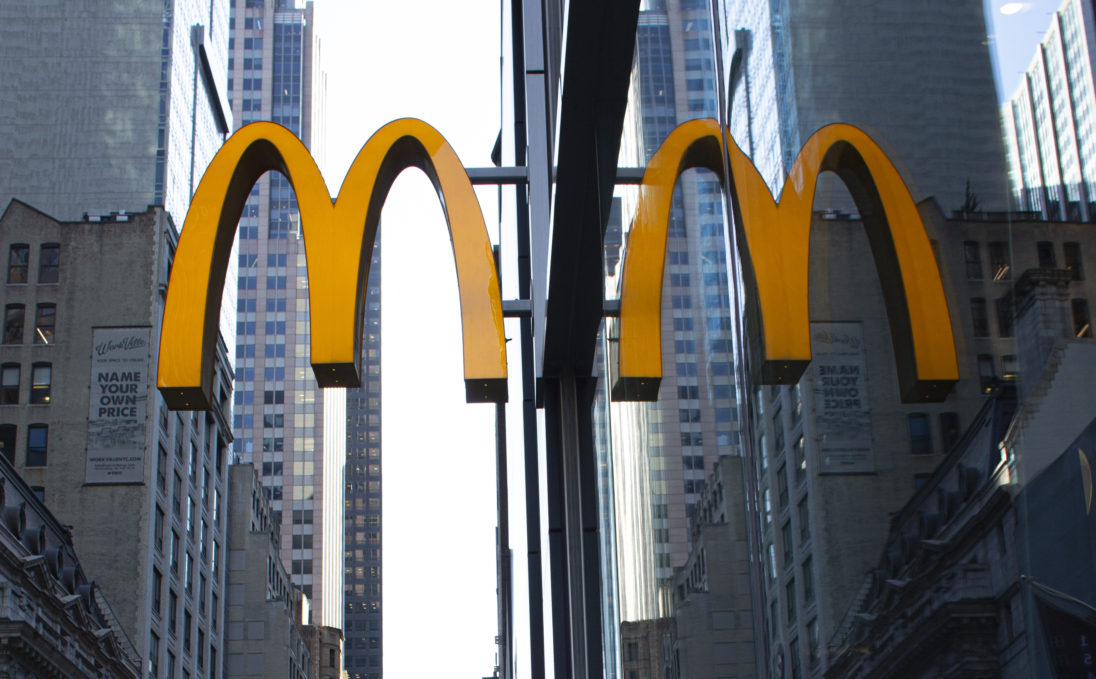 McDonald's golden arches sign in New York City.