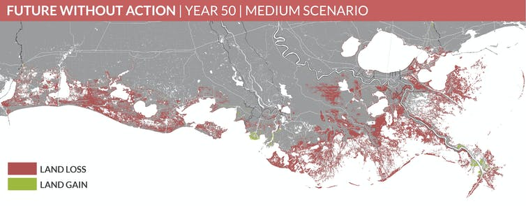 Map of southern Louisiana showing expected land loss by 2050.