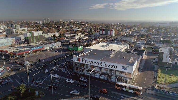 Aerial shot of Footscray