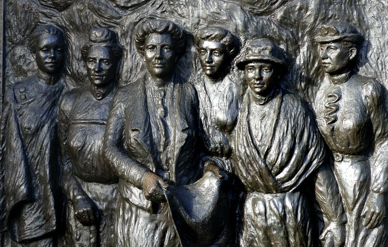 Bronze sculpture showing Kate Sheppard and other suffrage leaders
