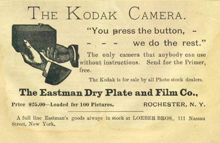 An 1889 ad for the new Kodak camera.