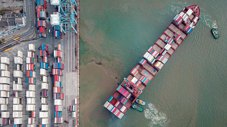 A cargo ship seen from above