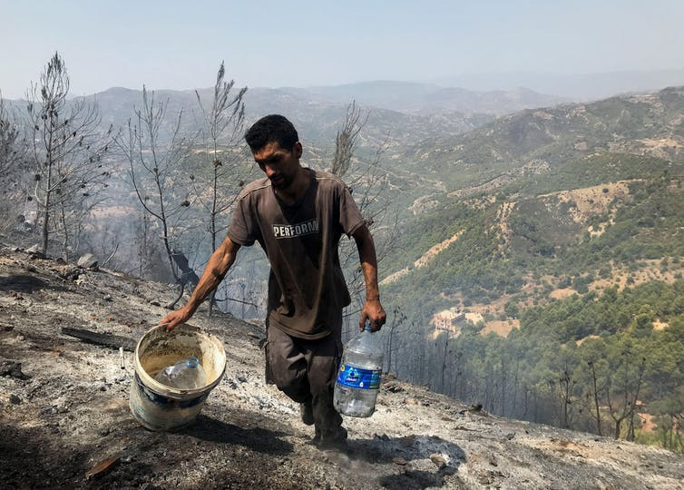 A Man Carries Water Up A Charred Hillside.