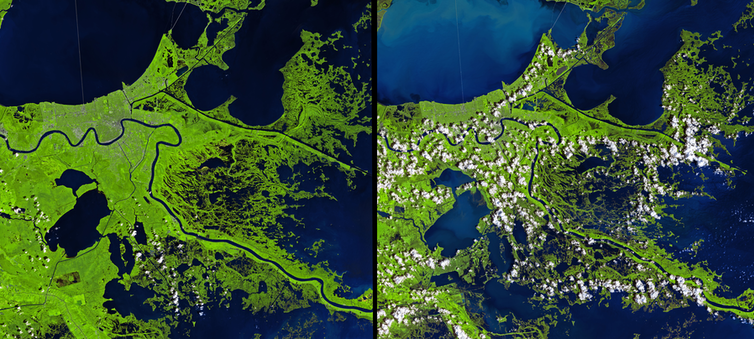 Satellite images showing widespread flooding