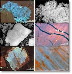 magnified images of tiny quartz grains