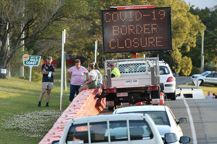Border closure sign.
