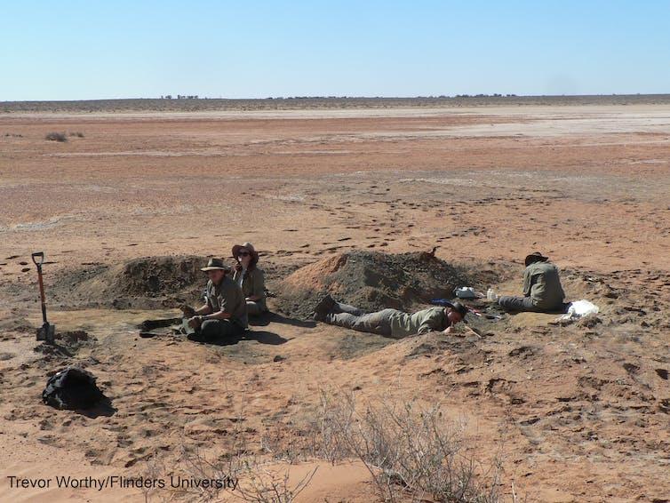 Excavation team working at Lake Pinpa