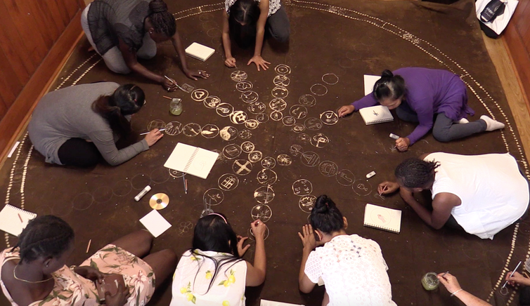 Women drawing on the ground