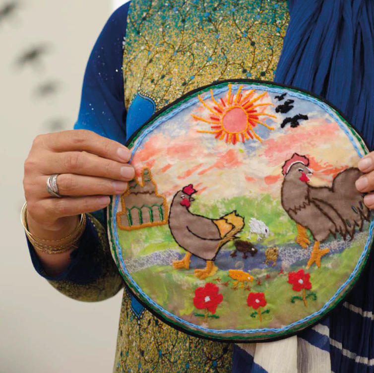 Embroidered chickens