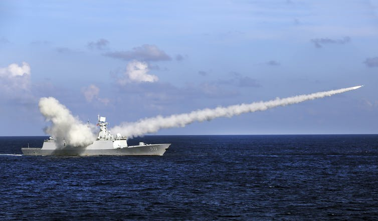 A Chinese missile frigate launches an anti-ship missile.
