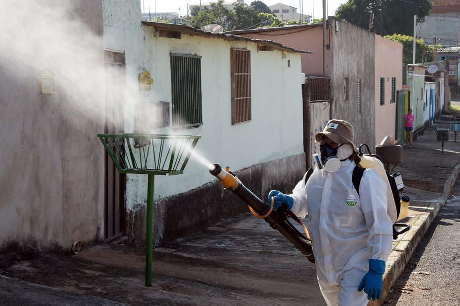 A worker in protective clothing sprays pesticides in Gama, Brazil, 2016.