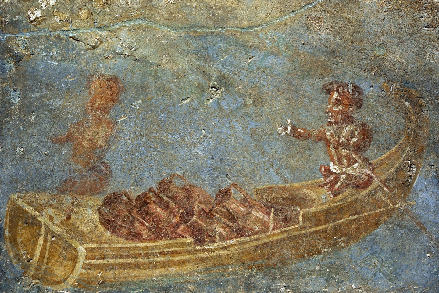 A Roman fresco depicts a Nilotic scene with pygmies in a boat loaded with amphorae.