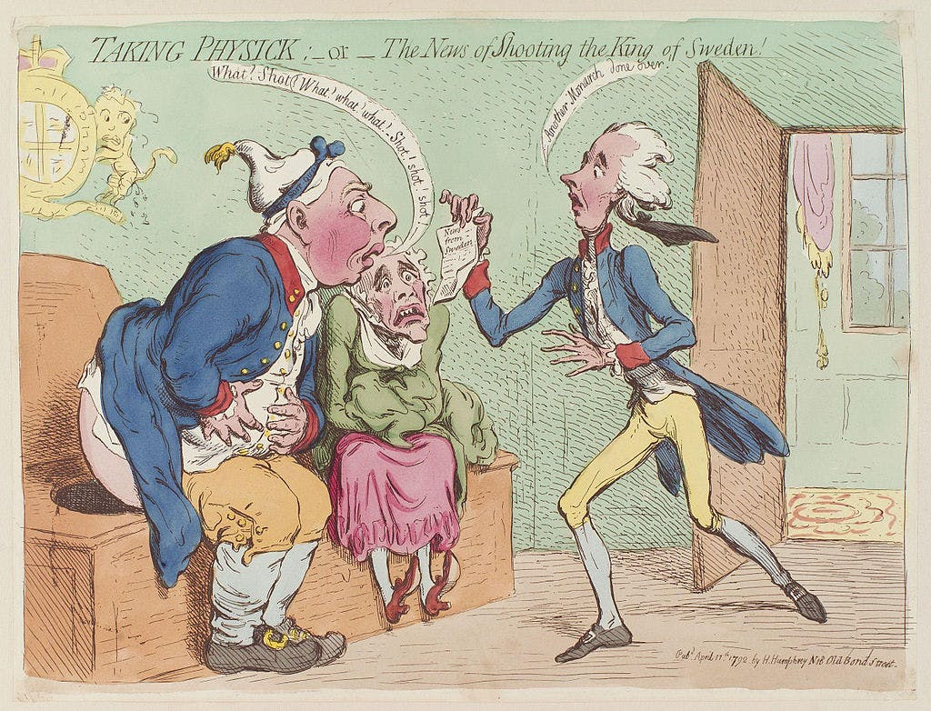 Cartoon depicting a king receiving news on the toilet.