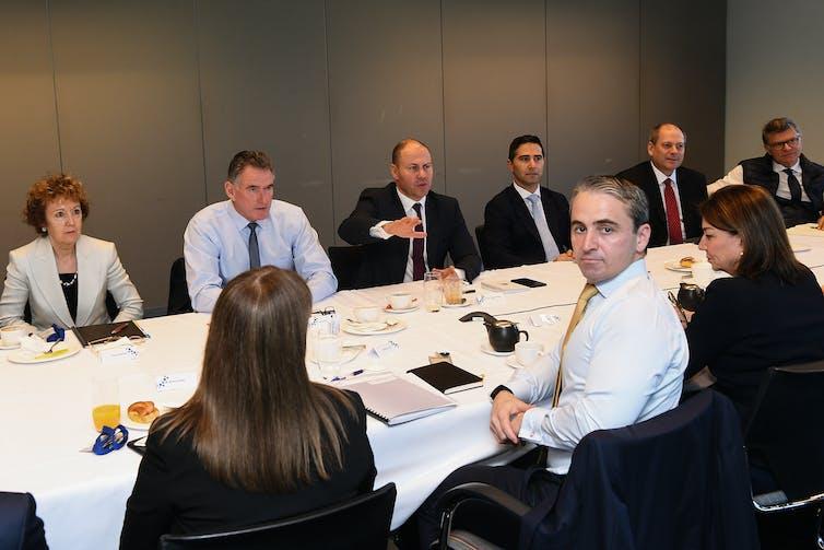 Members of the Australian Banking Association meet with federal treasurer Josh Frydenberg in March 2020.