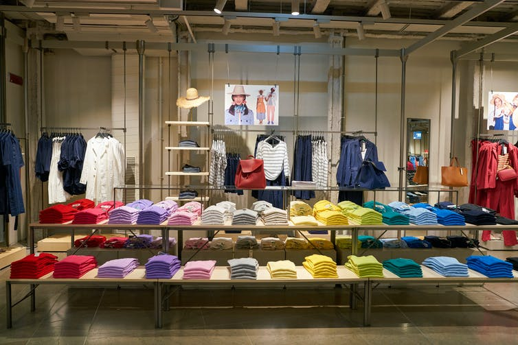 Interior display in a Benetton store.