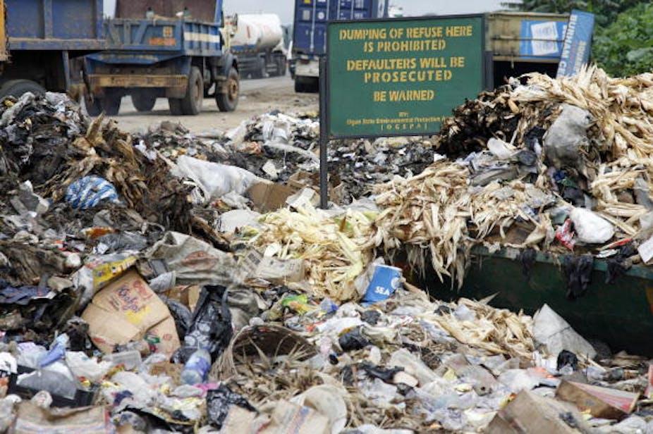 A dump site beside a street.