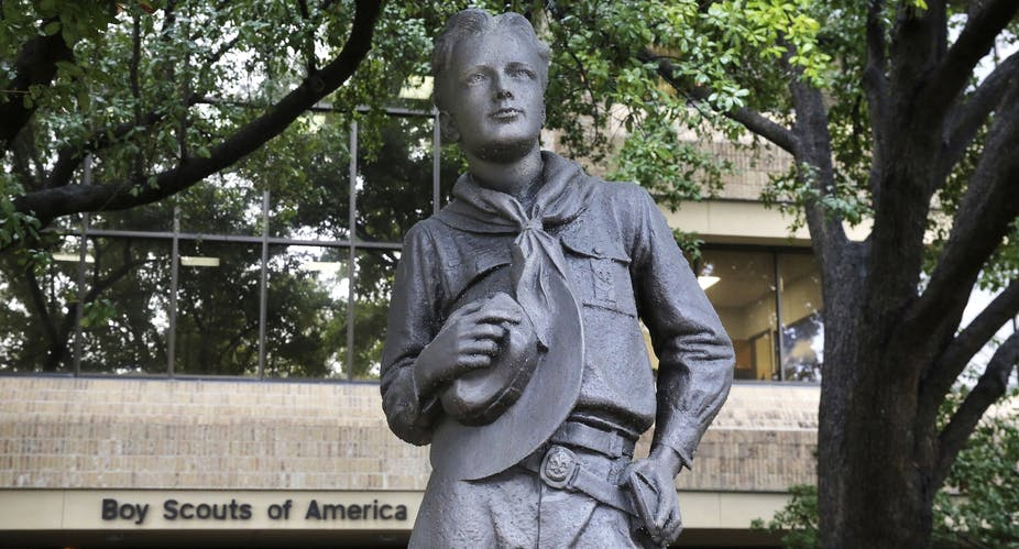 Statue of a Boy Scout, outside a Boy Scouts of America building