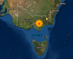 Map showing earthquake location
