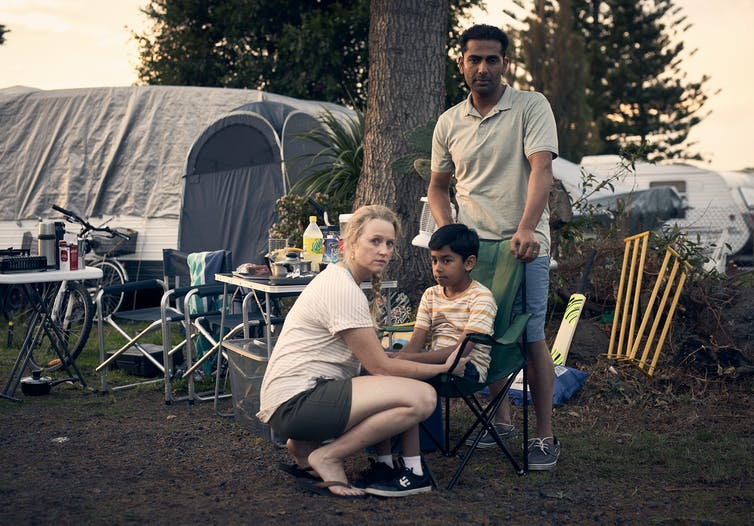Production still: Anna Lise Phillips, Emil Jayan and Sachin Joab at campgrounds