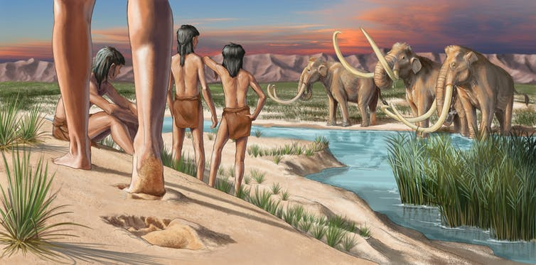 An illustration of prehistoric man and mammoths