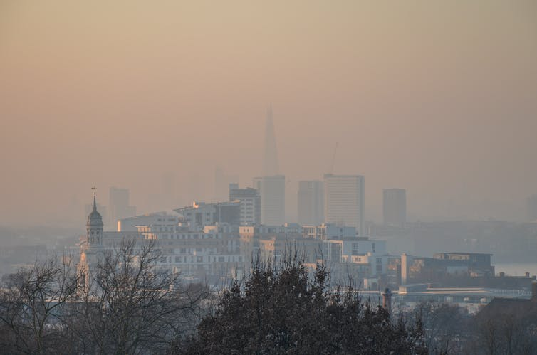 London's skyline obscured by pollution.