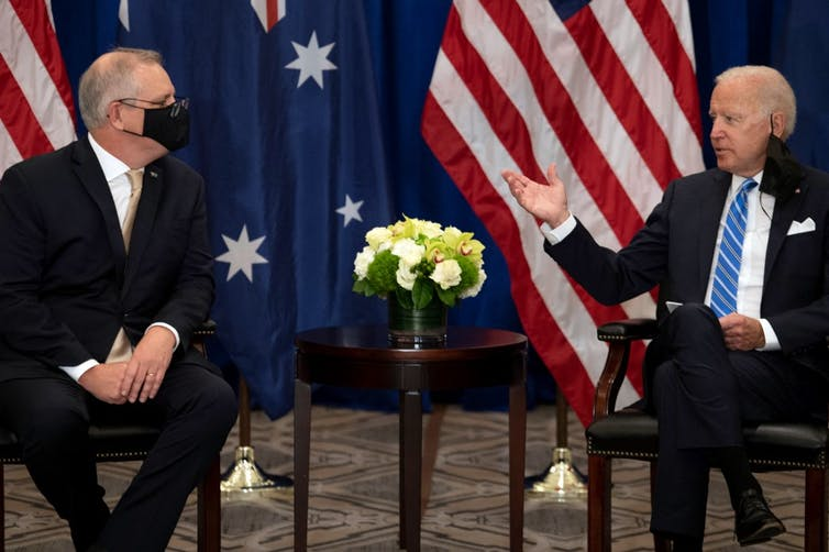 Australian Prime Minister Scott Morrison meets with US President Joe Biden on the sidelines of the 76th UN General Assembly