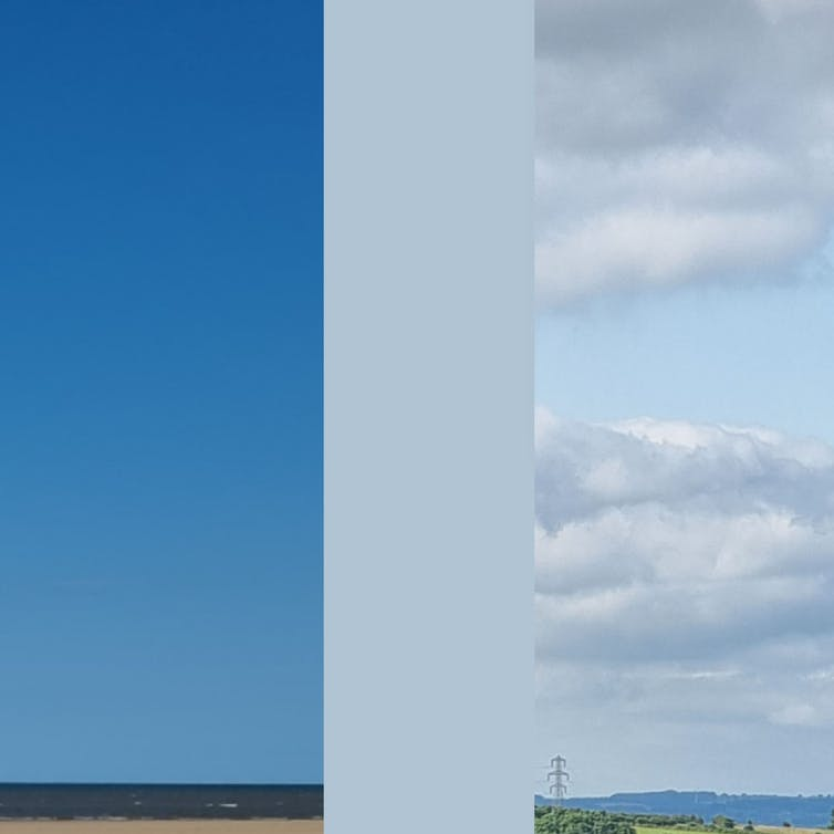 Two different blue skies compared against the paint colour blue skies.