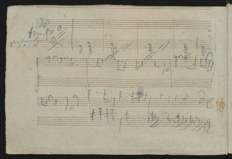 Piece of paper with musical notes jotted on it.