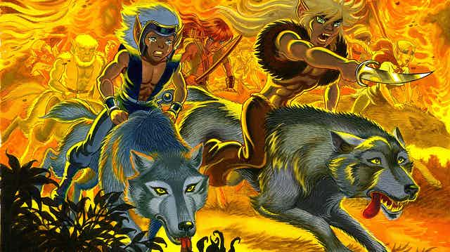 Two comic book elf characters ride wolves