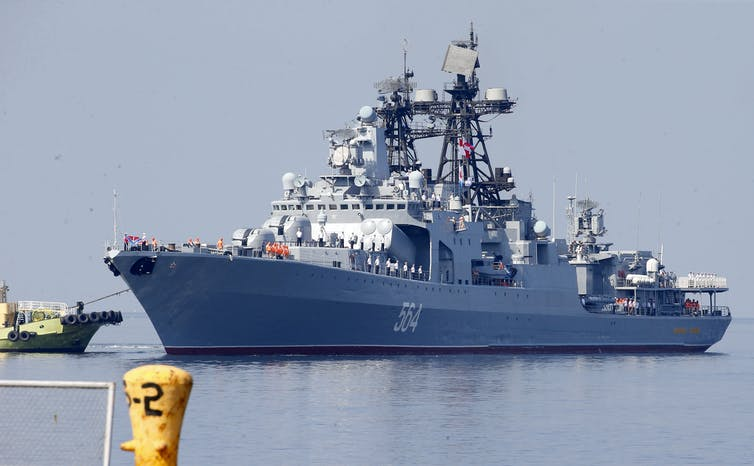 A Russian Navy destroyer visiting the Philippines.