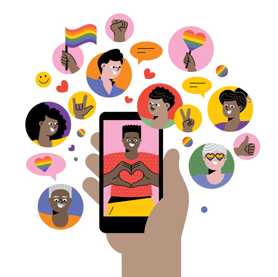 Illustration of hand holding a phone, surrounded by bubbles of smiling portraits and rainbow icons.