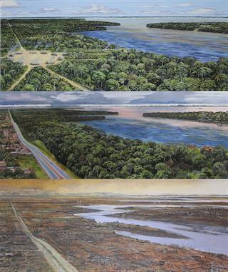 Un tríptico de un paisaje cerca de un río que muestra cómo las actividades humanas afectan el clima.