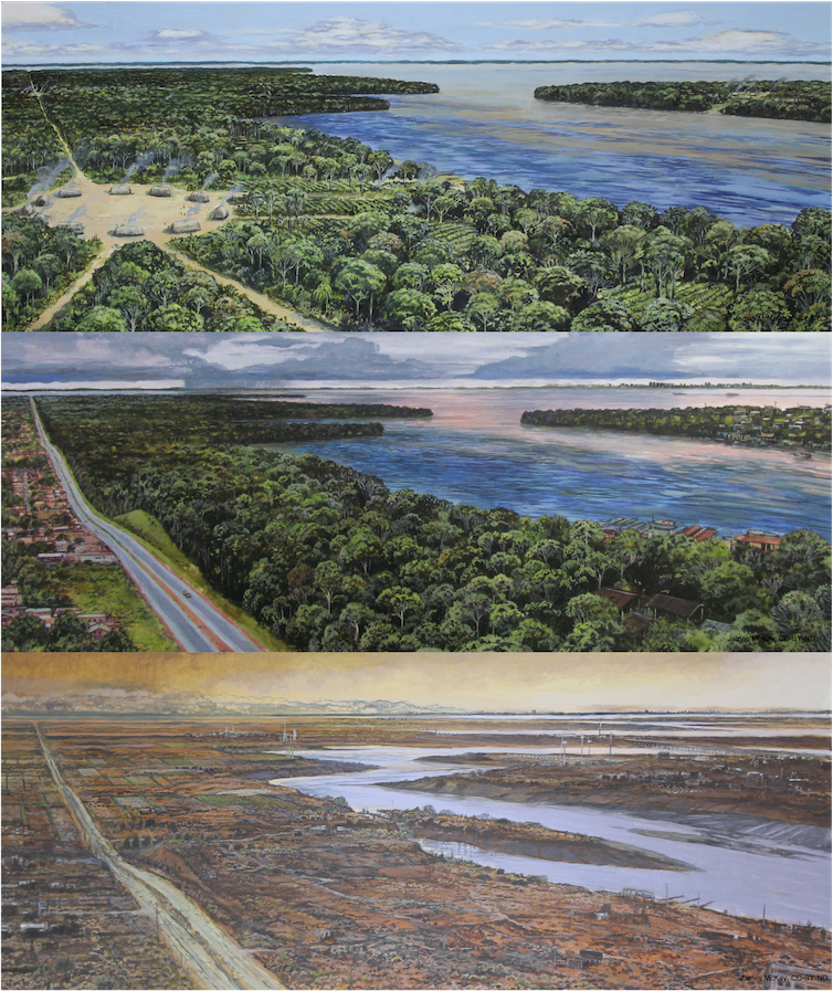 A triptych of a landscape near a river showing the how human activities affect the climate